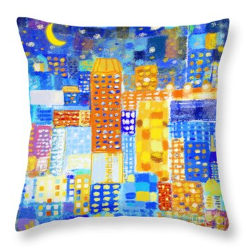 Abstract City Throw Pillow by Setsiri Silapasuwanchai