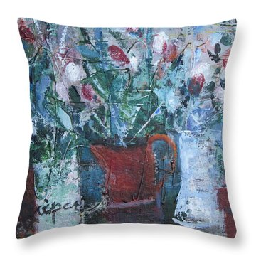 Abstract Flowers Throw Pillow by Betty Pieper