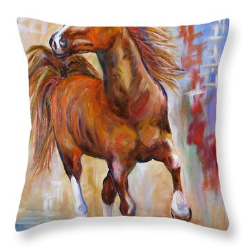 Abstract Horse Attitude Throw Pillow by Mary Jo Zorad