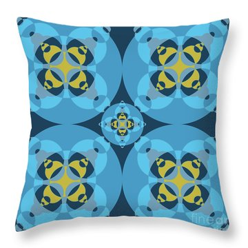 Abstract Mandala Cyan, Dark Blue And Yellow Pattern For Home Decoration Throw Pillow