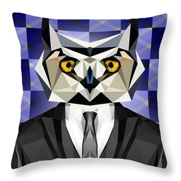 Abstract Owl Throw Pillow
