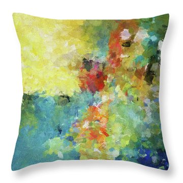 Throw Pillow featuring the painting Abstract Seascape Painting by Ayse Deniz
