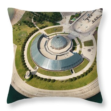 Throw Pillow featuring the photograph Adler Planetarium Aerial by Adam Romanowicz