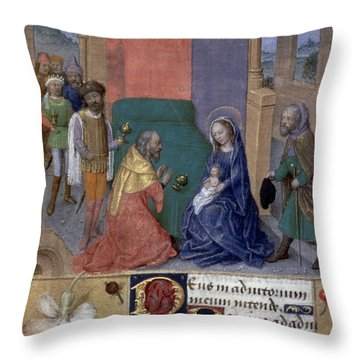 Adoration Of Magi Throw Pillow by Granger
