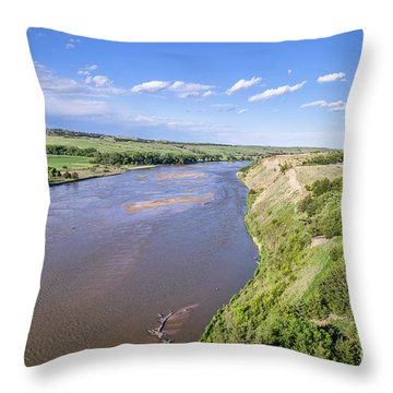 aerial view of Niobrara River in Nebraska Sand Hills Throw Pillow