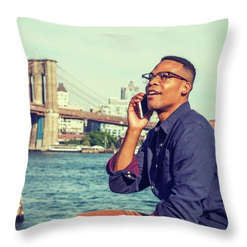 African American Man Traveling In New York Throw Pillow