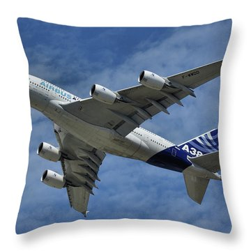 Throw Pillow featuring the photograph Airbus A380 by Tim Beach