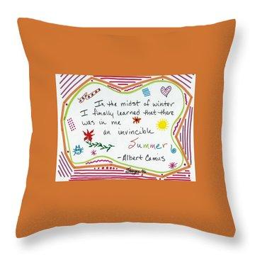 Albert Camus Doodle Quote Throw Pillow