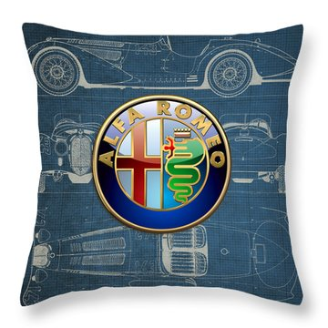 Alfa Romeo 3 D Badge Over 1938 Alfa Romeo 8 C 2900 B Vintage Blueprint Throw Pillow by Serge Averbukh