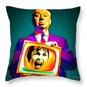 Throw Pillow featuring the photograph Alfred Hitchcock Psycho 20151218v3 Square by Wingsdomain Art and Photography