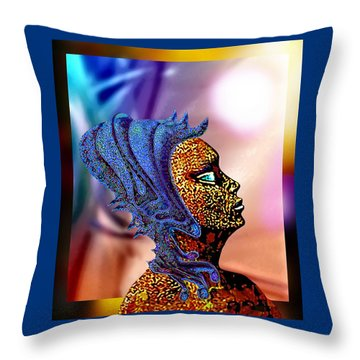 Alien Portrait Throw Pillow