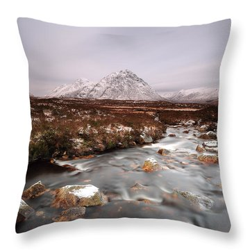 Allt Nan Giubhas And The Peak Of Stob Dearg Throw Pillow