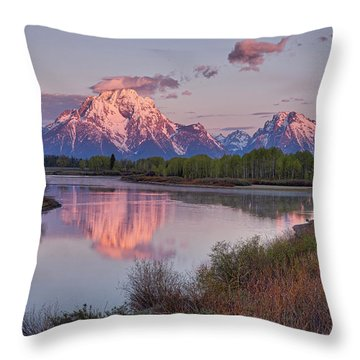 Alpenglow At Oxbow Bend Throw Pillow