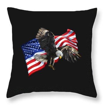 America Throw Pillow by Owen Bell