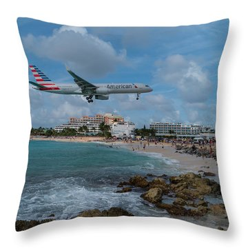 American Airlines Landing At St. Maarten Throw Pillow by David Gleeson