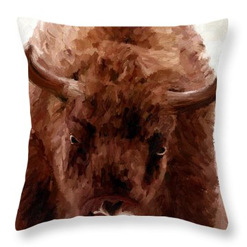 Throw Pillow featuring the painting American Bison by James Shepherd