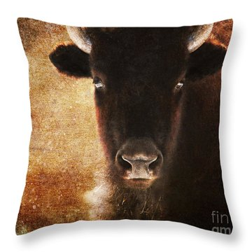 American Bison Throw Pillow by Olivia Hardwicke