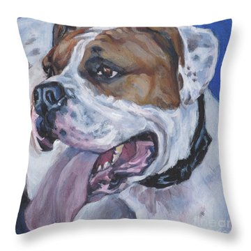 Throw Pillow featuring the painting American Bulldog by Lee Ann Shepard