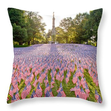 American Flags Throw Pillow by Susan Cole Kelly