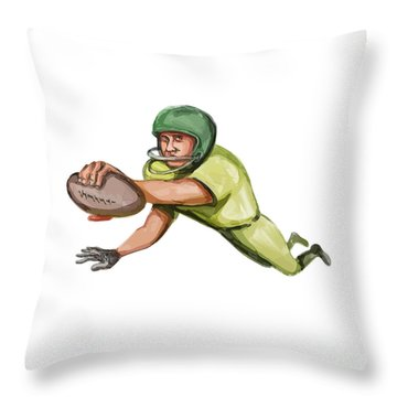 American Football Player Touchdown Caricature Throw Pillow