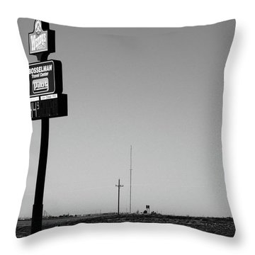 Throw Pillow featuring the photograph American Interstate - Kansas I-70 Bw 4 by Frank Romeo