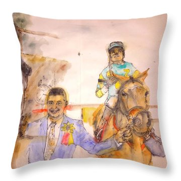 Throw Pillow featuring the painting American Pharaoh Abum by Debbi Saccomanno Chan