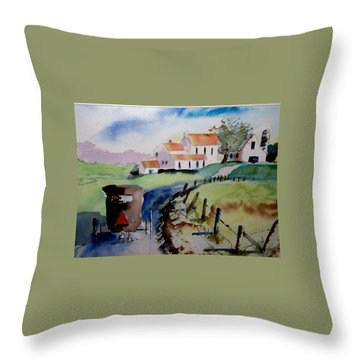 Amish Buggy Ride Throw Pillow