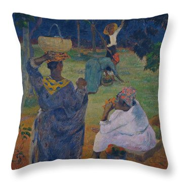 Among The Mangoes At Martinique Throw Pillow