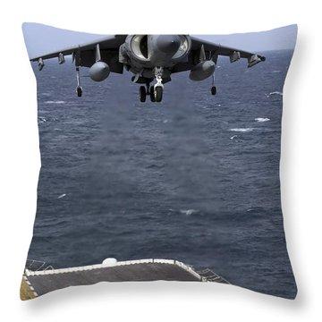 An Av-8b Harrier II Prepares To Land Throw Pillow