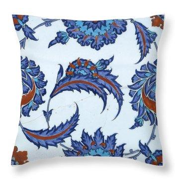 An Iznik Polychrome Pottery Tile Throw Pillow