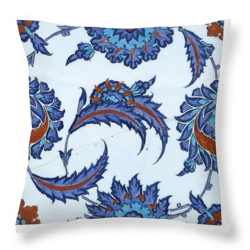 An Iznik Polychrome Pottery Tile Throw Pillow