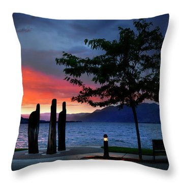 Throw Pillow featuring the photograph A Sunset Story by John Poon