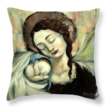 Angel And Baby Throw Pillow by Carrie Joy Byrnes