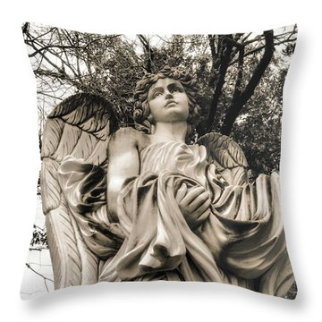 Angel In The Fall Throw Pillow