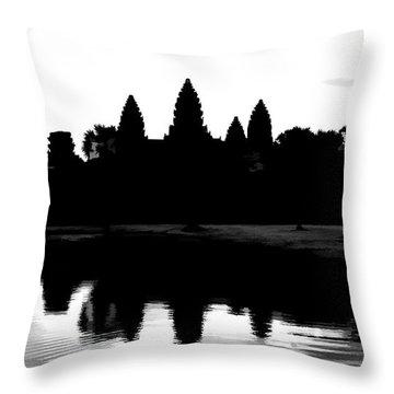 Angkor Wat Black  Throw Pillow