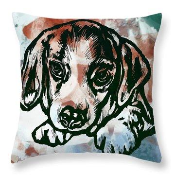 Animal Pop Art Etching Poster  - Dog  Throw Pillow