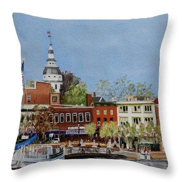 Annapolis Harbor Throw Pillow by Mary Susan Vaughn