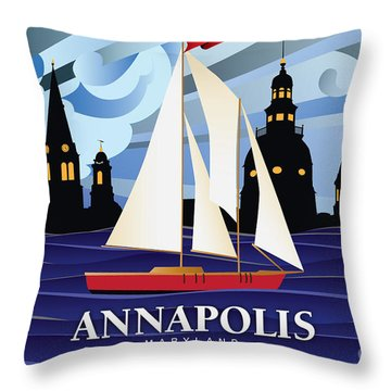 Annapolis Skyline Red Sail Boat Throw Pillow