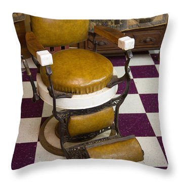 Antique Barber Chair 3 Throw Pillow