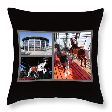Antique Carousel Greenport New York Throw Pillow