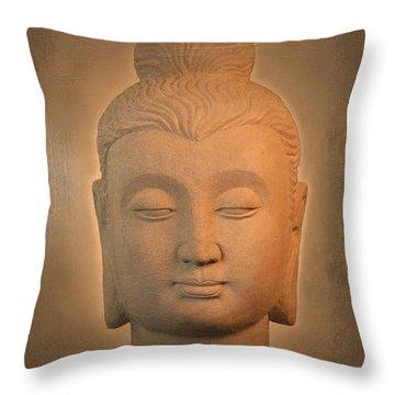 antique oil effect Buddha Gandhara. Throw Pillow by Terrell Kaucher