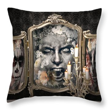 Antique Vampire Paintings Throw Pillow
