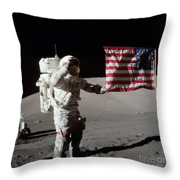 Apollo 17 Astronaut Salutes The United Throw Pillow