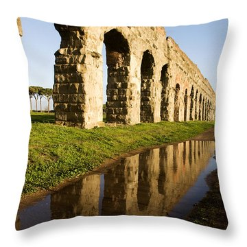 Aqua Claudia Aqueduct Throw Pillow by Fabrizio Troiani