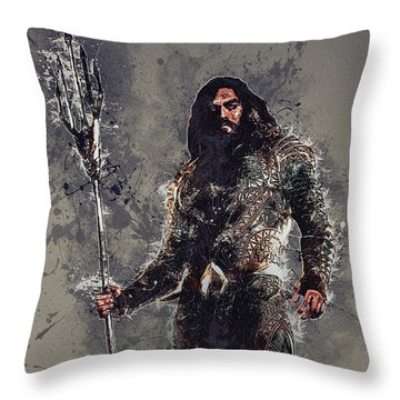 Aquaman Throw Pillow by Elena Kosvincheva