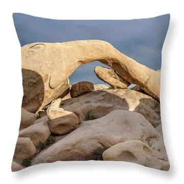 Arch Rock Panorama In Joshua Tree Throw Pillow