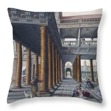 Architectural Caprice With Figures Throw Pillow by Hans Vredeman de Vries
