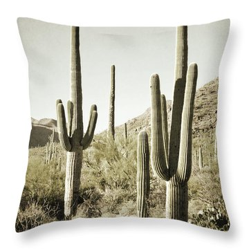 Throw Pillow featuring the photograph Arizona Cactus Pair Desert by Andrea Hazel Ihlefeld