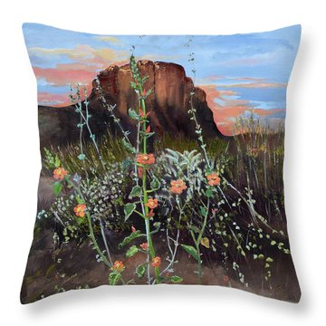 Arizona Desert Flowers-dwarf Indian Mallow Throw Pillow