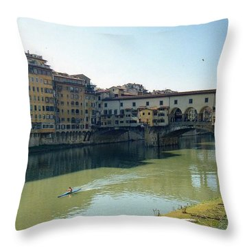 Arno River In Florence Italy Throw Pillow by Marna Edwards Flavell